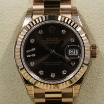 Rolex Lady-Datejust Or rose 28mm Brun Sans chiffres