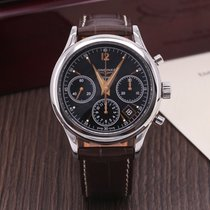 Longines Column-Wheel Chronograph pre-owned 39mm Black Chronograph Date Leather