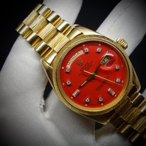 Rolex Day-Date Yellow gold 36mm Red No numerals