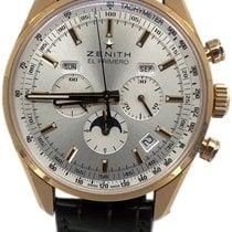 Zenith Rose gold Automatic Silver No numerals 42mm pre-owned El Primero 410