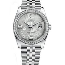 Rolex DATEJUST 36mm Silver Floral Dial Diamond Bezel