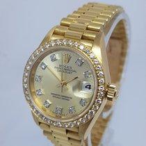 Rolex Lady-Datejust 26mm 18K Gold Diamond Dial & Bezel Watch