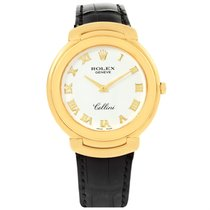 Rolex Cellini 18k Yellow Gold White Roman Dial Mens Watch 6623