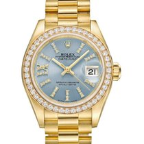 Rolex Lady-Datejust Yellow gold 28mm Blue Roman numerals