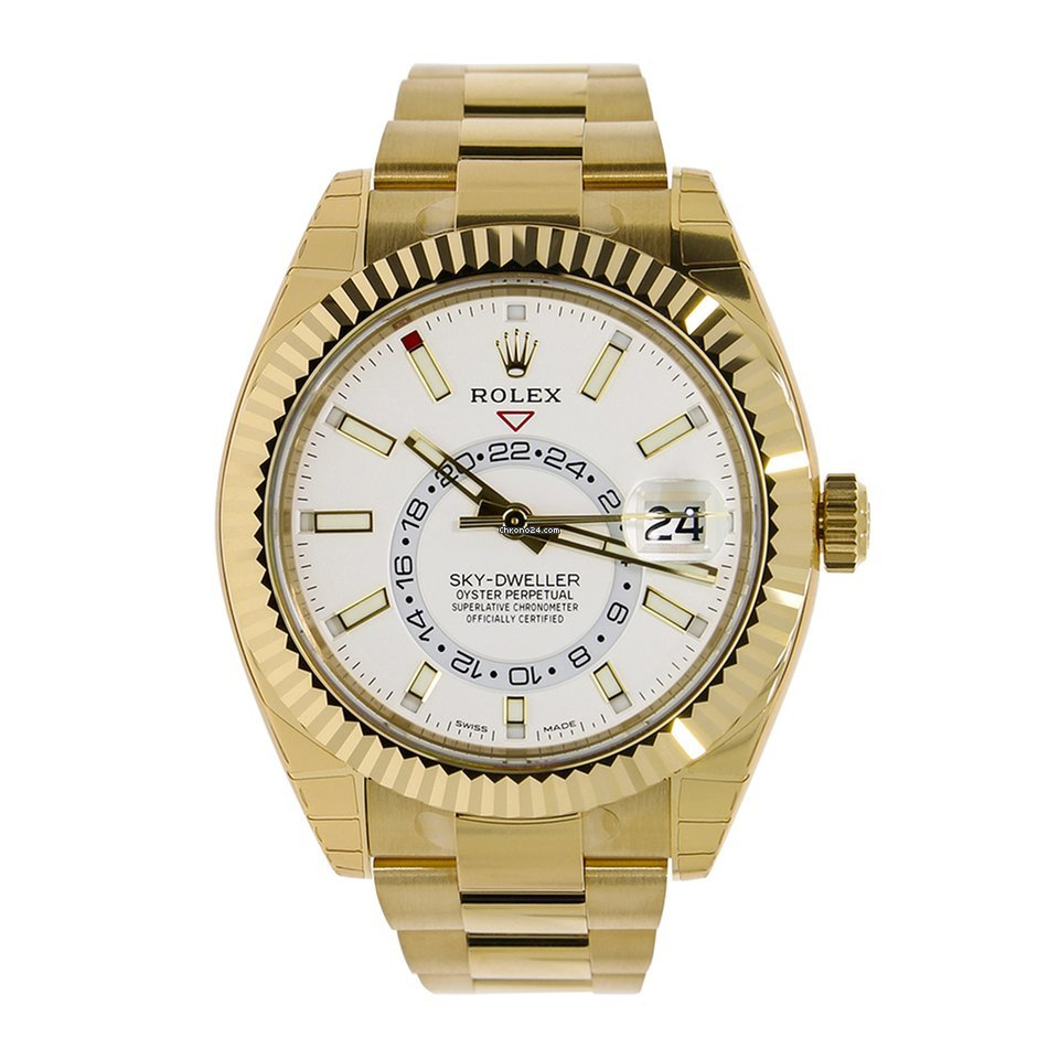 Rolex SKY,DWELLER 42mm 18K Yellow Gold White Dial Watch 326938