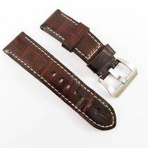 Panerai 24 /22mm  dark brown Alligator leather strap with pin...