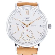 IWC Portofino Hand-Wound pre-owned 45mm Silver Leather