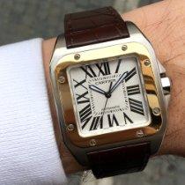 Cartier Santos 100 Gull/Stål 38mm Hvit Romersk