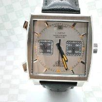 TAG Heuer Monaco Calibre 11 brukt 39mm Sølv Kronograf Dato Lær
