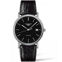 浪琴 L49214522 Presence Black Dial Steel & Leather