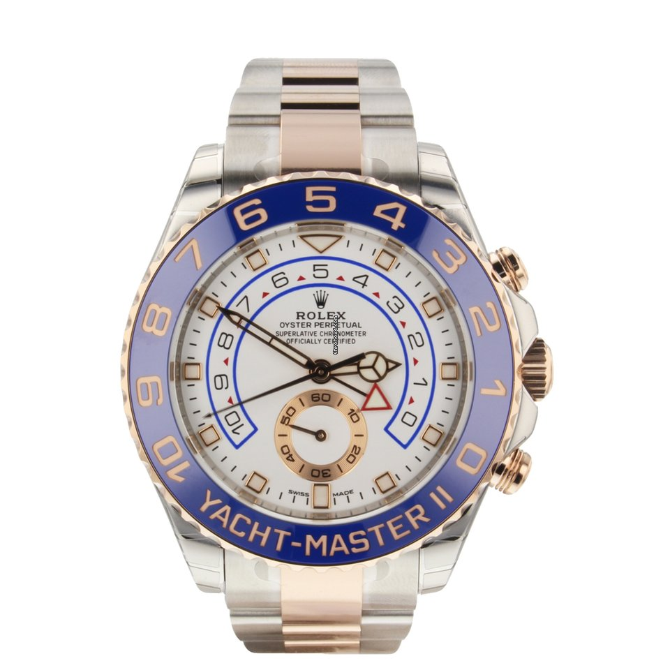 Rolex Yacht Master Ii 44 Mm 18k Rose Gold Stainless Steel 116681 Mens Watch
