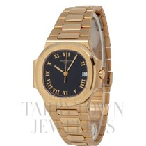 Patek Philippe Yellow gold Automatic Black Roman numerals 37.6mm pre-owned Nautilus