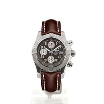 Breitling Avenger II 43 Grey Dial Brown Leather Strap Buckle