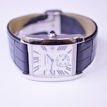 Cartier Tank Francaise Stainless Steel Mens Watch on Leather...