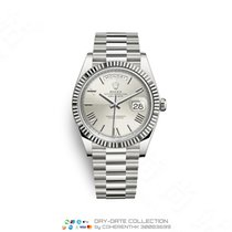 Rolex Day-Date 40 Or blanc 40mm Argent Romain