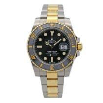 Rolex Submariner Date Gold/Stahl 40mm Schwarz Keine Ziffern