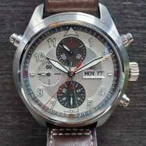 IWC Pilot Double Chronograph Steel 44mm Silver Arabic numerals United States of America, New York, New York