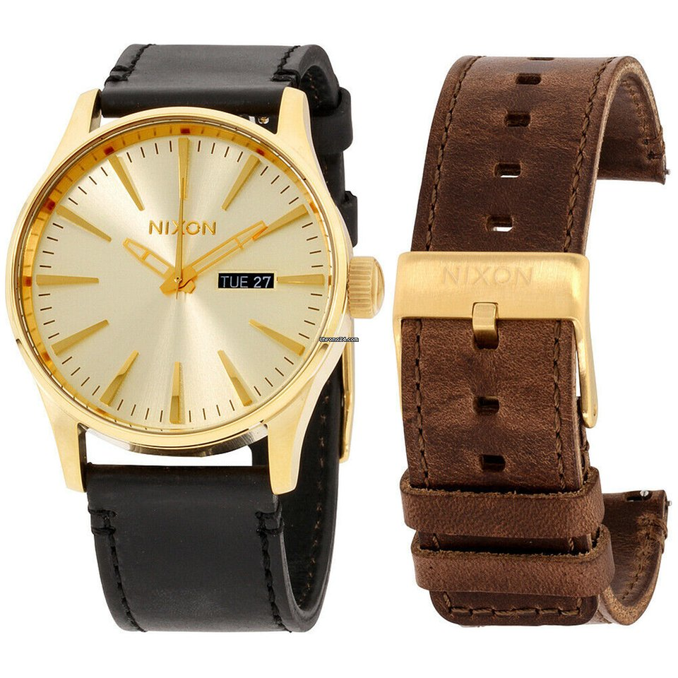 Dial Leather Men's Pack Watch Gold Sentry Strap A1138259100 Nixon ywvOPNm8n0