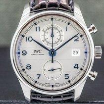 IWC Steel Automatic White Arabic numerals 42mm pre-owned Portuguese Chronograph