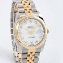 Rolex Datejust Or/Acier 36mm Blanc