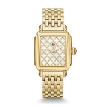 Michele Yellow gold Quartz Mother of pearl No numerals 33mm new Deco