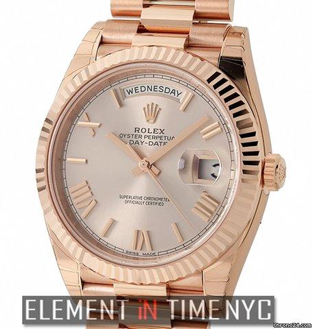 Rolex Day,Date 40 18k Rose Gold President 40mm Sundust Roman Dial