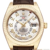 Rolex Yellow gold Automatic Silver No numerals 42mm new Sky-Dweller