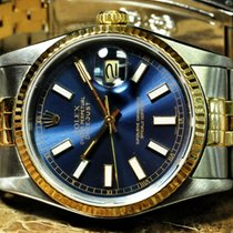 Rolex Datejust 18k Gold / Steel with Blue Dial and Papers