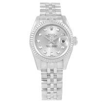 Rolex Datejust Steel White Gold Silver Diamond Dial Ladies...