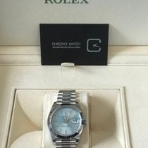 Rolex Day-Date 40 Platinum Ice Blue Diagonal Motif Dial