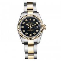Rolex Lady-Datejust Acero y oro 26mm Negro Sin cifras