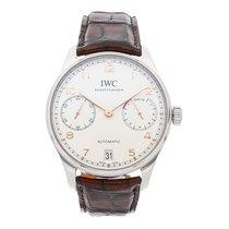 IWC Portuguese Automatic pre-owned 42.3mm Silver Date Crocodile skin