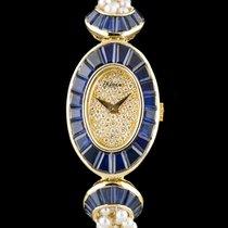 DeLaneau 18k Y/G Sapphire Set Case Pearl Bracelet Ladies Cocktail