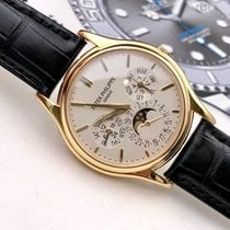 Patek Philippe Yellow gold Automatic Silver No numerals 37.2mm pre-owned Perpetual Calendar