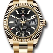 Rolex Yellow gold Black 42mm new Sky-Dweller
