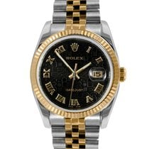 Rolex Mens 18k/SS 116233 Datejust - Black Jubilee Dial -