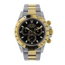 Rolex Daytona 40mm Steel & 18K Yellow Gold Black Dial Watch...