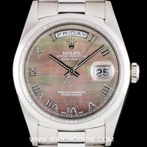 Rolex Platinum Black MOP Roman Dial Day-Date Gents 18206