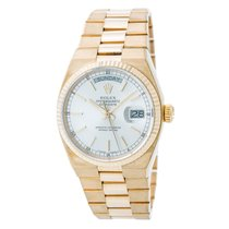 Rolex Day-date 19018 Mens Oysterquartz Watch Silver Dial 18k...