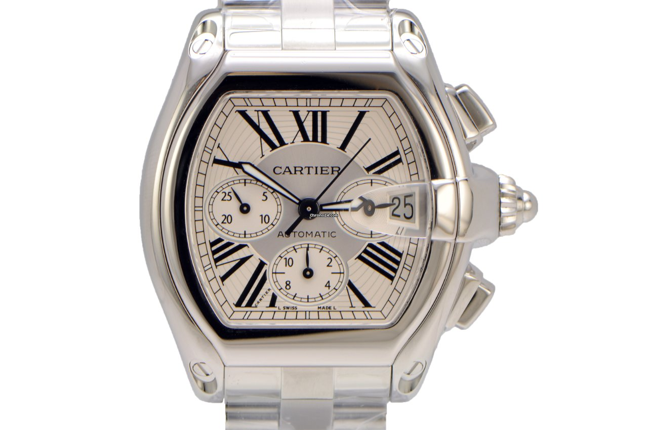 Cartier Roadster XL Chronograph Stainless Steel Silver for  5 670bc4559a