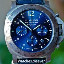Panerai PAM 326 Luminor Daylight Chronograph Blue Sunburst...