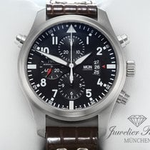 IWC Pilot Double Chronograph pre-owned 46mm Black Chronograph Double chronograph Date Weekday Leather