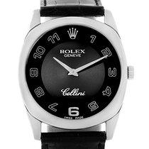 Rolex Cellini Danaos 18k White Gold Black Dial Unisex Watch 4233