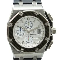 Audemars Piguet Royal Oak Offshore Chronograph gebraucht 44mm Silber Chronograph Datum Leder