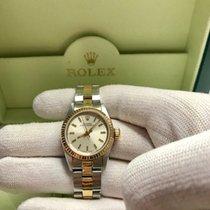Rolex Oyster Perpetual Ouro/Aço 26mm Champanhe Sem números