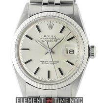 Rolex Datejust Steel 36mm 18k White Gold Fluted Bezel Silver...