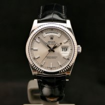 Rolex Day-Date 36 occasion 36mm Argent Date Cuir de crocodile