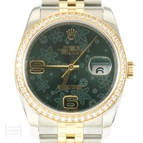 Rolex Datejust pre-owned 36mm Green Date Gold/Steel