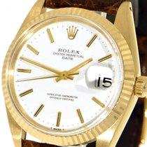 Rolex Oyster Perpetual Date Gelbgold 34mm Weiß