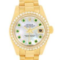 Rolex President Ladies 18k Yellow Gold Diamond Emerald Watch...